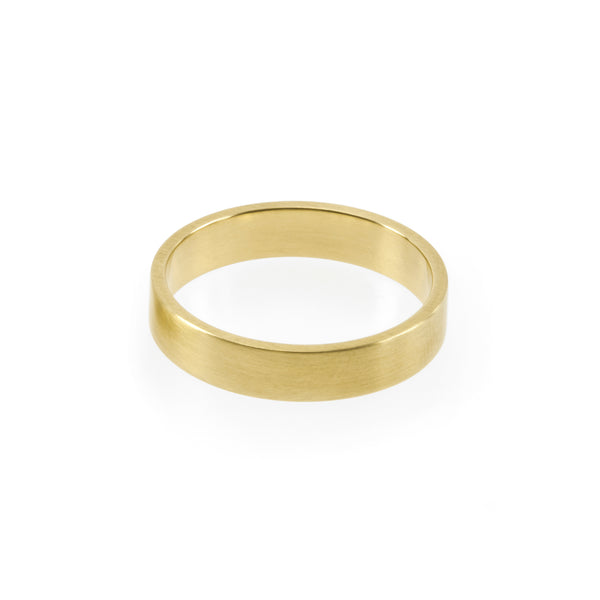 Eco-friendly gold ring. This artisan crafted Flat Band is handmade in Cape Town in recycled gold from e-waste.