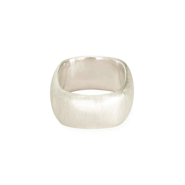 Eco-friendly silver ring. This artisan crafted Squared Band is handmade in Cape Town in recycled silver from e-waste.