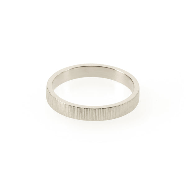 Sustainable silver ring. This artisan crafted Strata Band is handmade in Cape Town in recycled silver from e-waste.