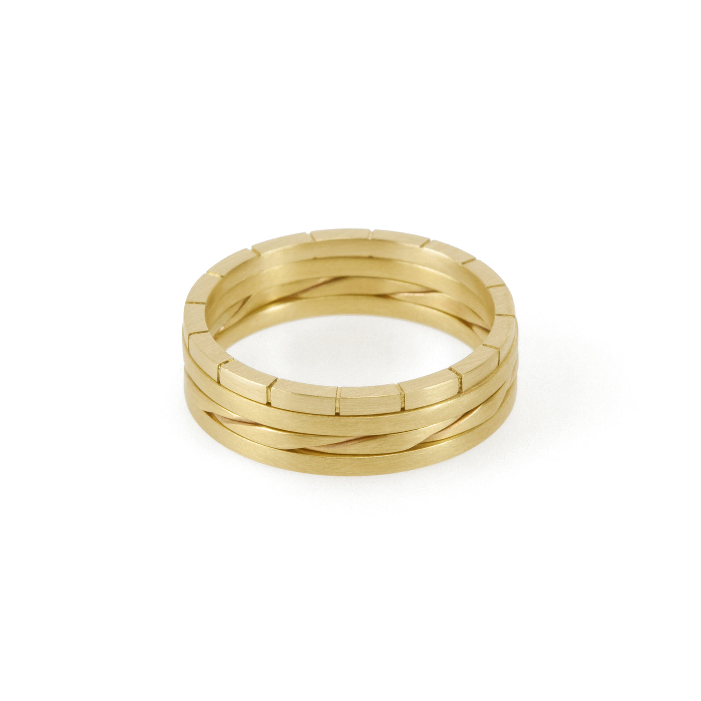Sustainable gold stacking rings. This ethical Traveller's Set is handmade in Cape Town in recycled gold from e-waste.