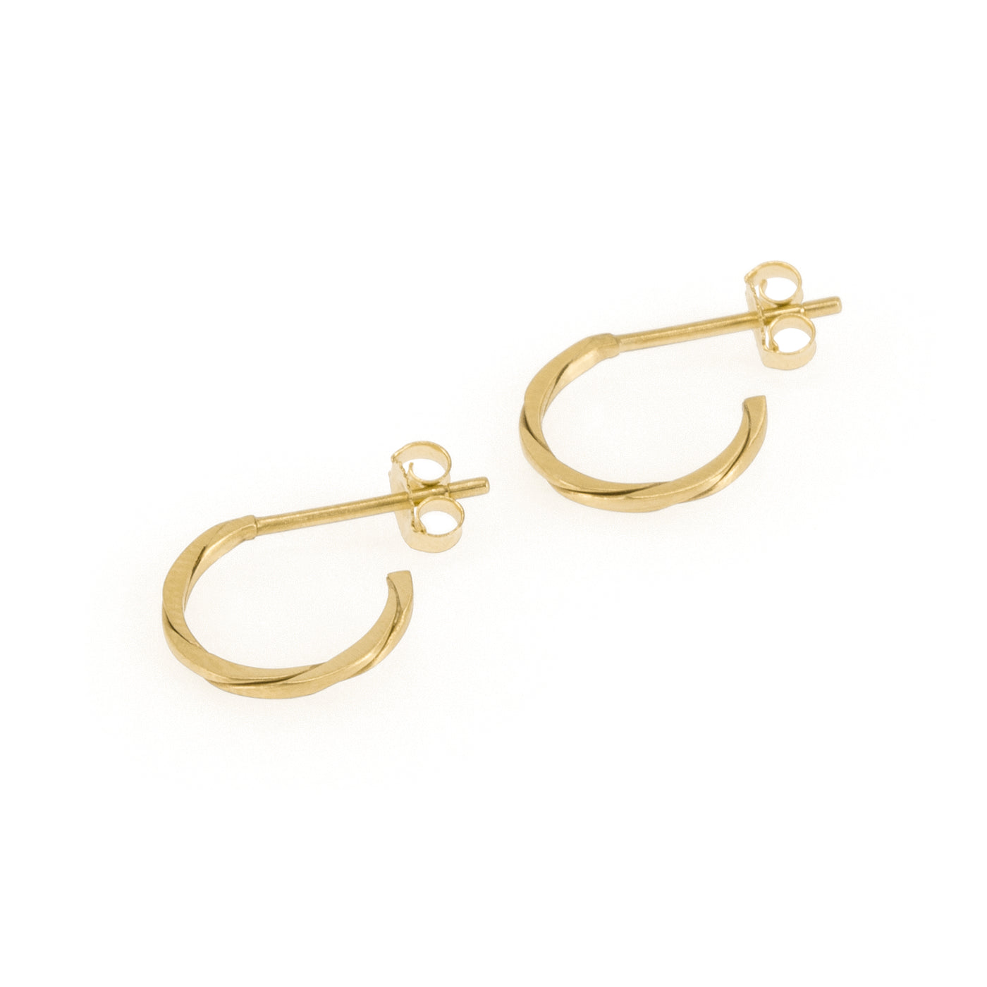 Eco-friendly gold earrings. These sustainable Twist Hoops are handmade in Cape Town in recycled gold from e-waste.