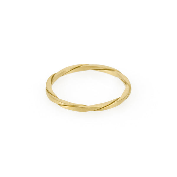 Ethical gold ring. This minimalist Twist Ring is handmade in Cape Town in recycled gold from e-waste.