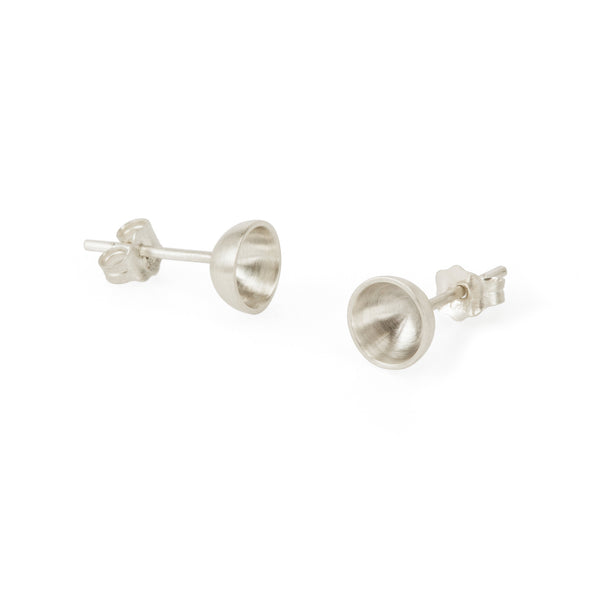 Ethical silver earrings. These minimalist Vessel Studs are handmade in Cape Town in recycled silver from e-waste.