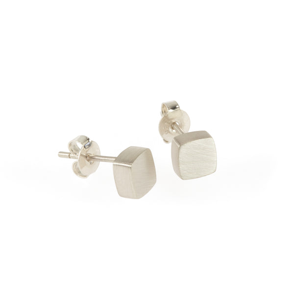 Eco-friendly silver earrings. These sustainable Form Studs are handmade in Cape Town in recycled silver from e-waste.