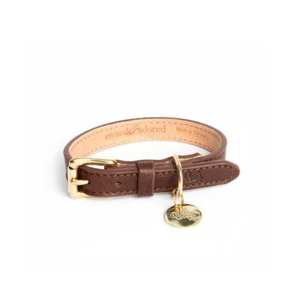 [CLEARANCE!] The Classic Dog Collar by Owned & Adored in Chocolate Brown