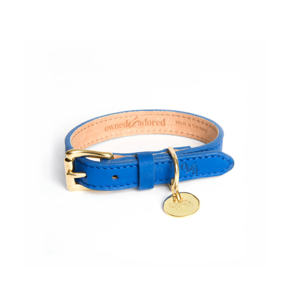 [CLEARANCE!] The Classic Dog Collar by Owned & Adored in Cobalt Blue