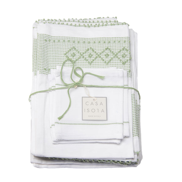 sage green artisan woven cotton sustainably crafted kitchen napkin set
