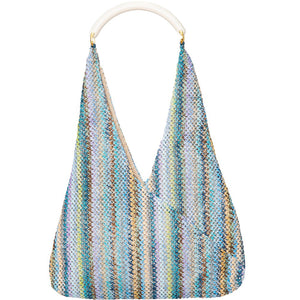 ITALIAN BLUE AND WHITE VERTICAL WEAVED PATTERN WOVEN COTTON TOTE WITH IVORY SHOULDER STRAP.  LINED INTERIOR WITH ZIP POCKET AND SNAP CLOSURE.