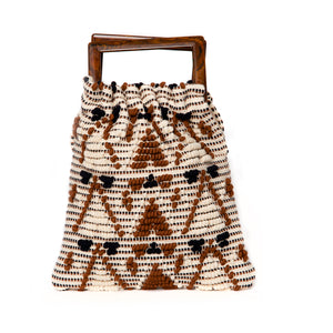 ITALIAN CAPPUCCINO INSPIRED DIAMOND PATTERN WOVEN COTTON BAG, SAND INTERIOR WITH ZIP COMPARTMENT, AND DOUBLE TOP HANDLES.