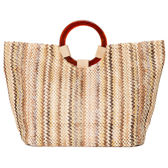 ITALIAN BEIGE AND BROWN PATTERN WOVEN COTTON TOTE WITH TOP HANDLES.  LINED INTERIOR WITH ZIP POCKET AND SNAP CLOSURE.