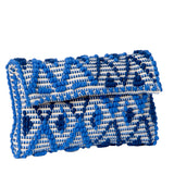 Italian blue handmade woven cotton crossbody handbag