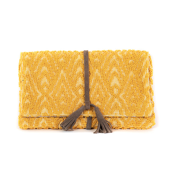 yellow woven cotton clutch