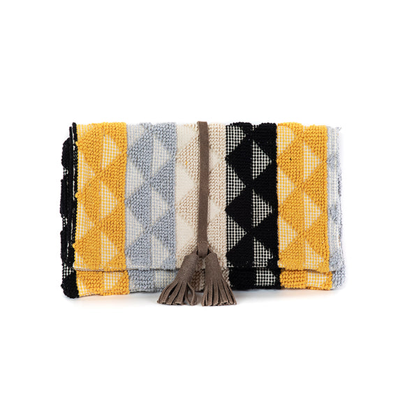 black, grey and yellow cotton clutch with suede tassel