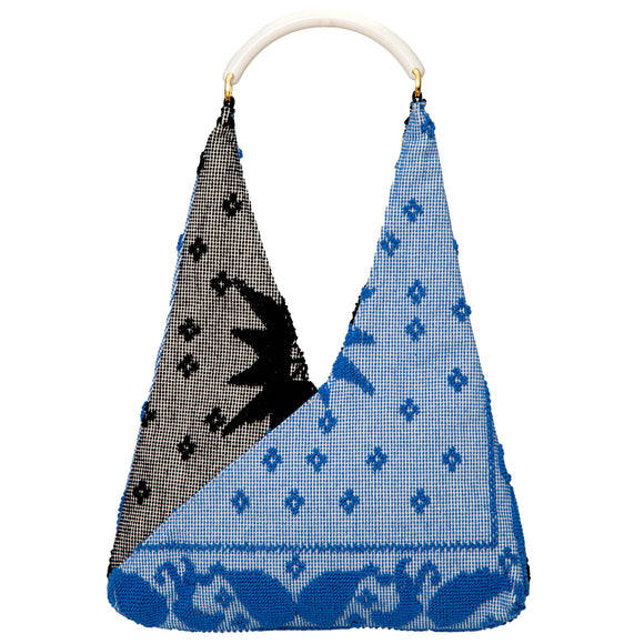 black and blue cotton woven hobo style tote
