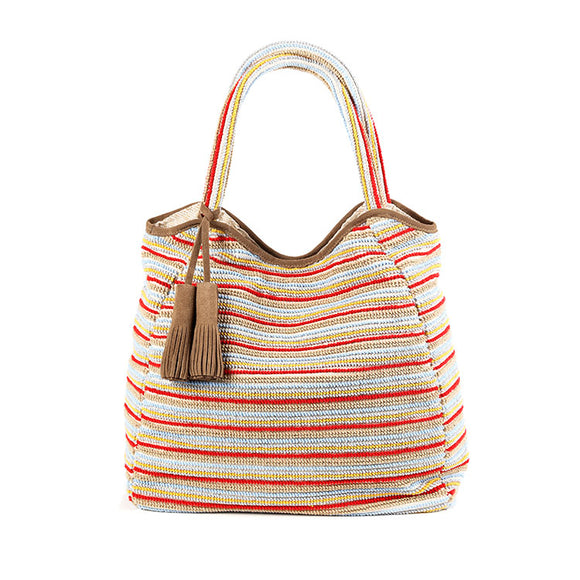 Italian sand and red striped jacquard woven large cotton tote