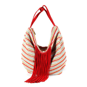 Italian red, camel, yellow and light blue striped woven big cotton tote