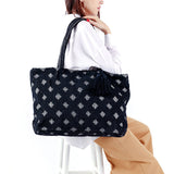 black large cotton woven tote