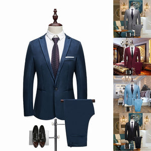 Luxury Men Wedding Suit Male Blazers Slim Fit Suits For Men Costume Business Formal Party Casual Work Wear Suits (Jacket+Pants)