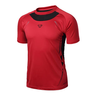 Running Shirt Men Tops Tees Sport O-neck T-shirt Splicing Short Sleeve Gym Training workout Shirts Breathable Sportswear Jerseys