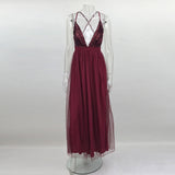 NATTEMAID Floor Length 2017 V Neck Backless Summer Dress Women Sexy Mesh Maxi Long Dress Vintage Sequin Party Dresses Vestidos