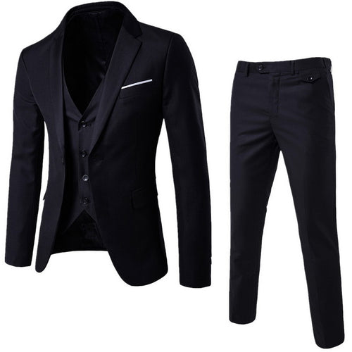 NIBESSER Mens 3 Pieces Blazers Pants Vest Social Suit Thin Men Fashion Solid Business Suit Set Casual Formale Suits Plus Size
