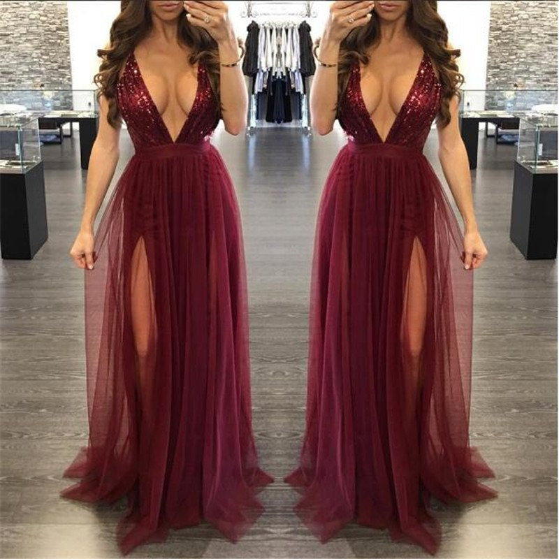 2017 autumn winter party maxi dress sling evening deep v-neck backless sequin patchwork sexy elegant strap dresses vestidos