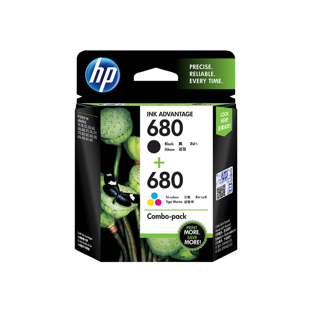 HP 680 2-pack Black/Tri-color Original Ink Advantage Cartridges