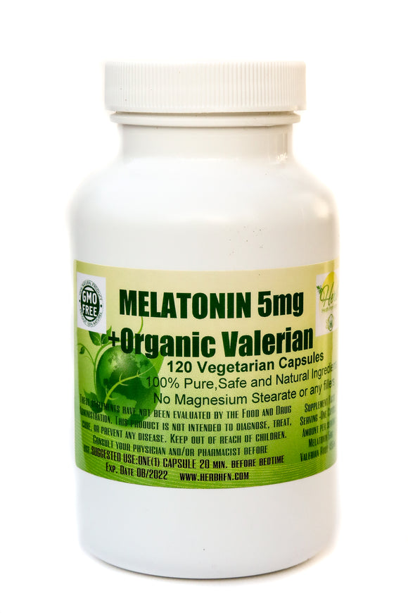 MELATONIN 5mg + ORGANIC VALERIAN 120 – 500mg vegetarian capsules HERB Health From Nature -  Sleep Formula, relaxing and calming blend.
