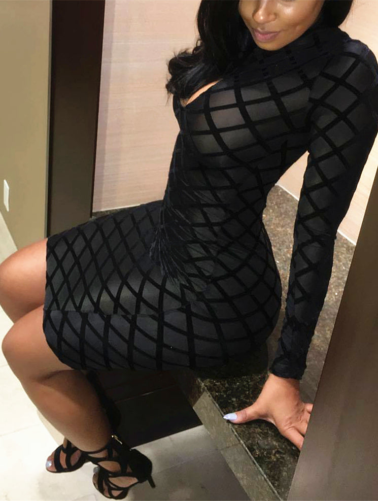 Sexy Long Sleeves Black Dress