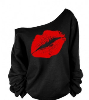Dew Shoulder Red Lip Printing Sweatshirt