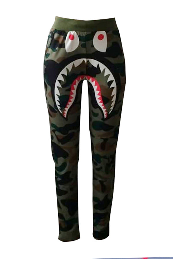 Camouflage Printed Army Green Pants. Eyes and mouth Print design on the front.