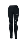 High Waist Black Rip Denim Jeans with Zipper fly.