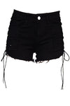 Black Denim Shorts With Lace Up Sides. The back lower bottom has the stylish rips.