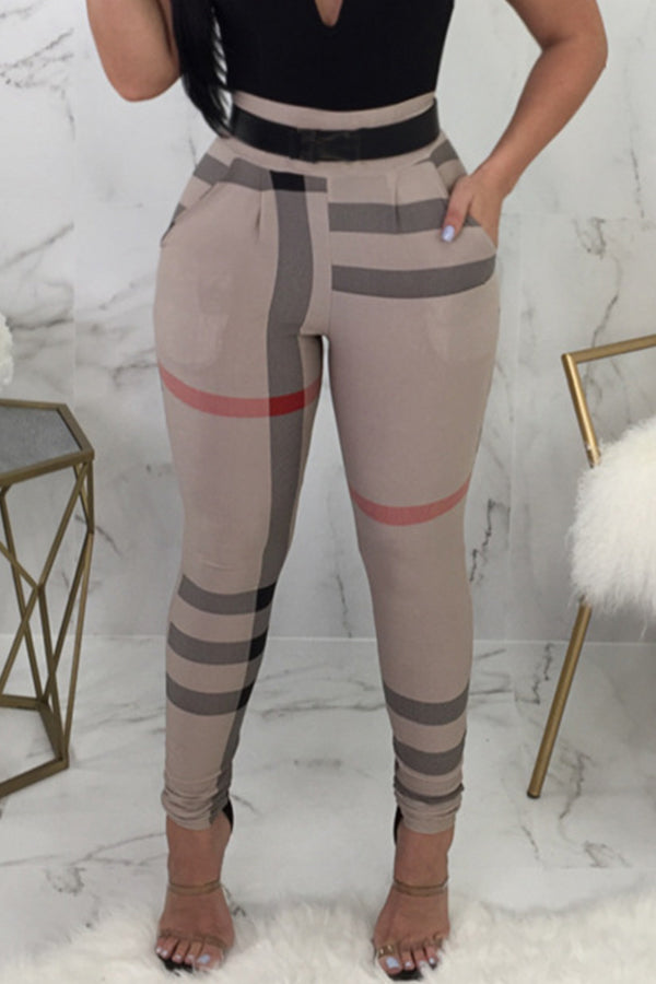 High Waist Striped Printed Pants