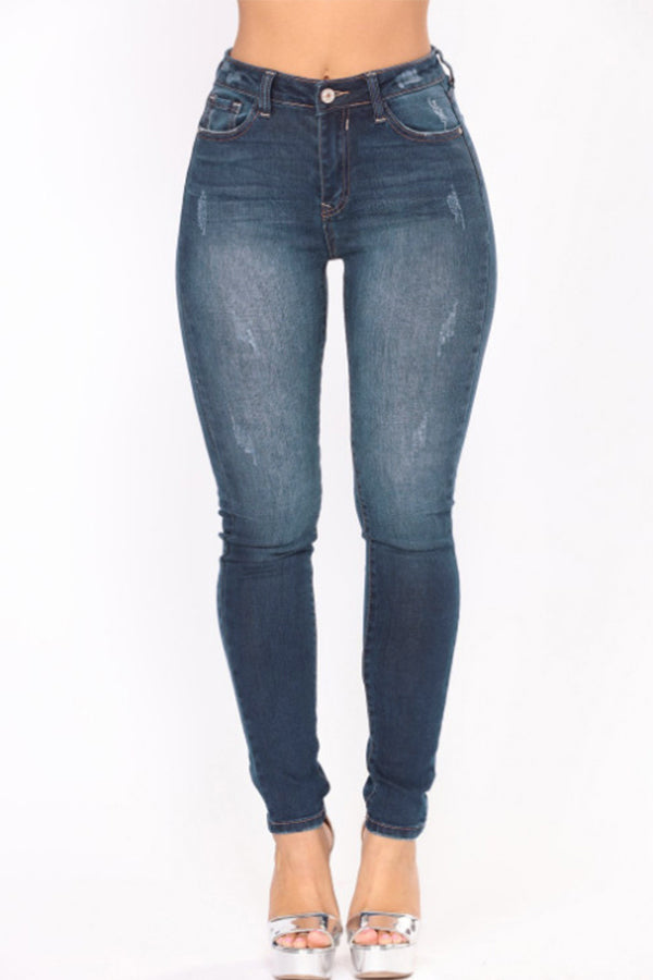 High Waist Blue Denim Jeans. With zipper fly.