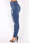 High Waist Deep Blue Distressed Denim Jeans