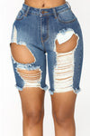 High Waist Blue Denim Jean Shorts With Rips in the front . Zipper fly.