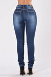 High Waist Distressed Blue Denim Jeans. With zipper fly.
