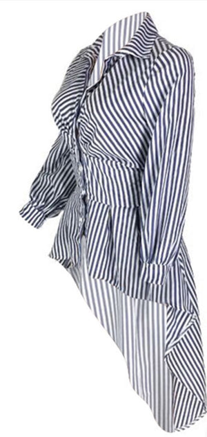 Casual Grey & White Striped Blouse Top