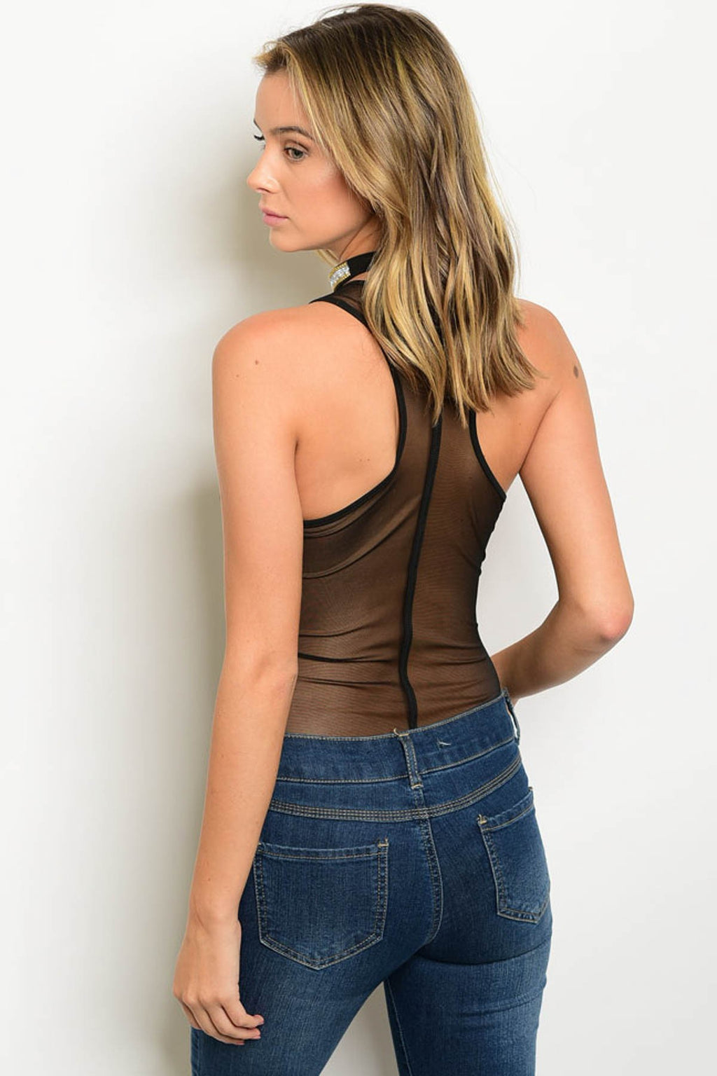 Black sleeveless mesh bodysuit top. See through around back, top and sides.