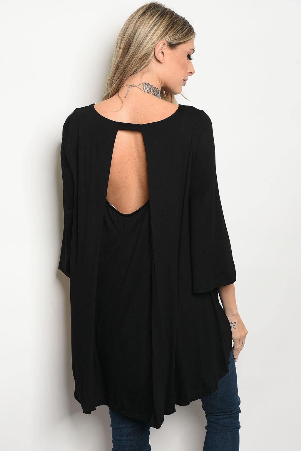 Black Top With Open Split Back