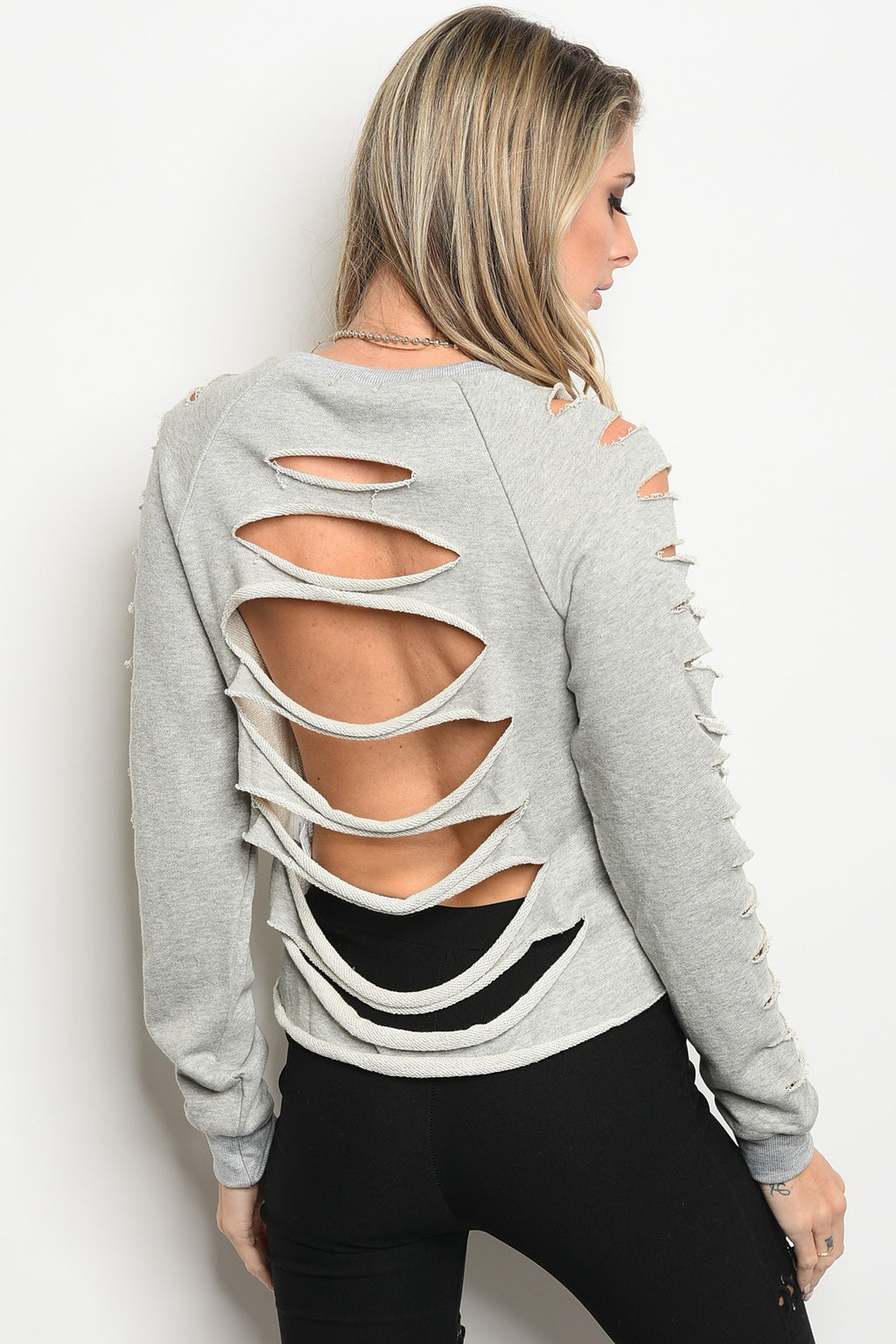 Gray Sweat Shirt With Rips In Back And Down Sleeves Long Sleeve.