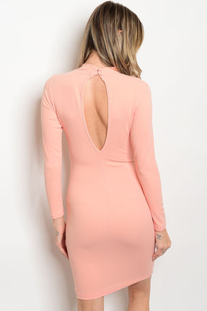 Long sleeve Peach Dress. Key Hole Opening In Back. Strap Lace up the right thigh and hip area