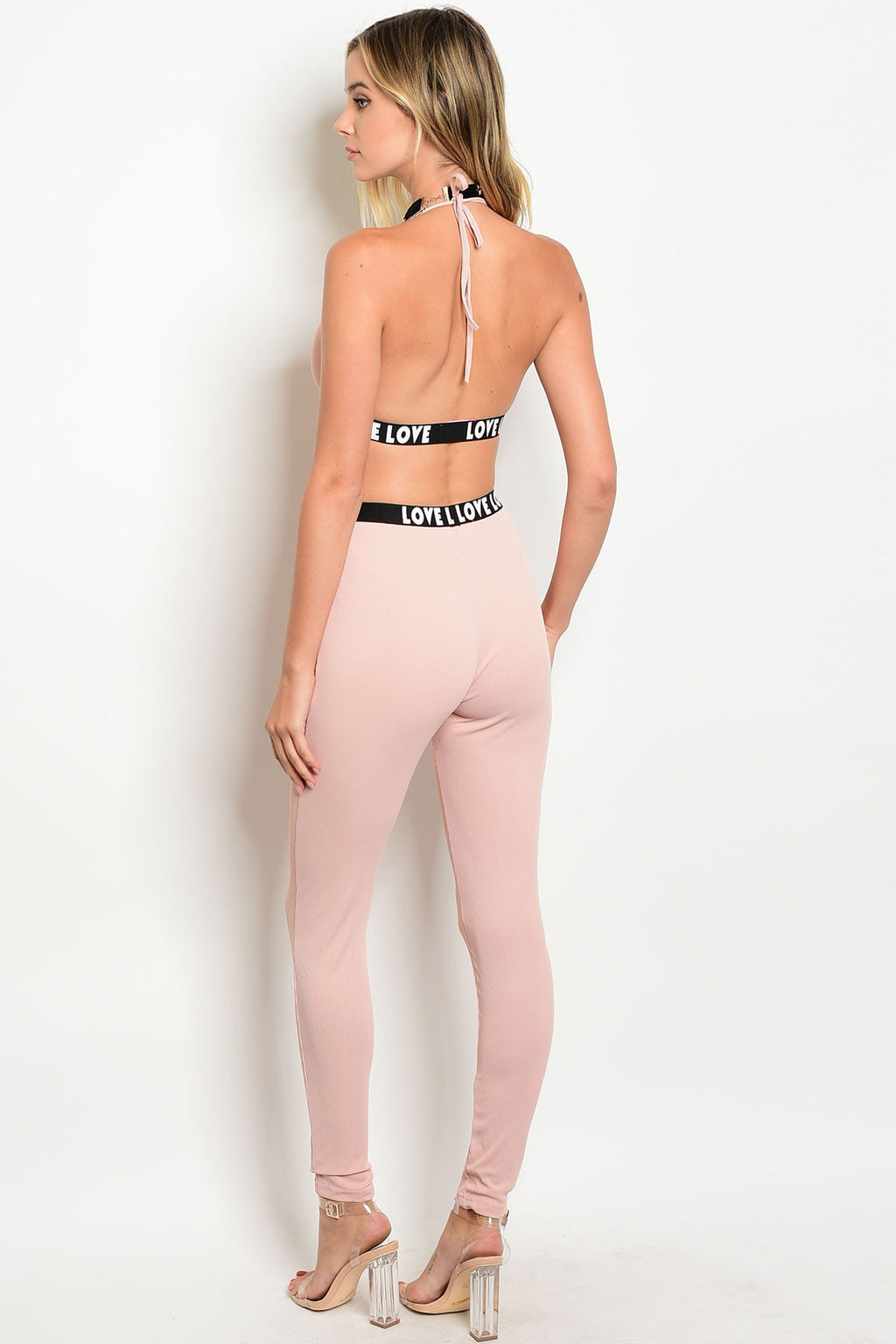 Blush Tie up Crop Top & Pants Set