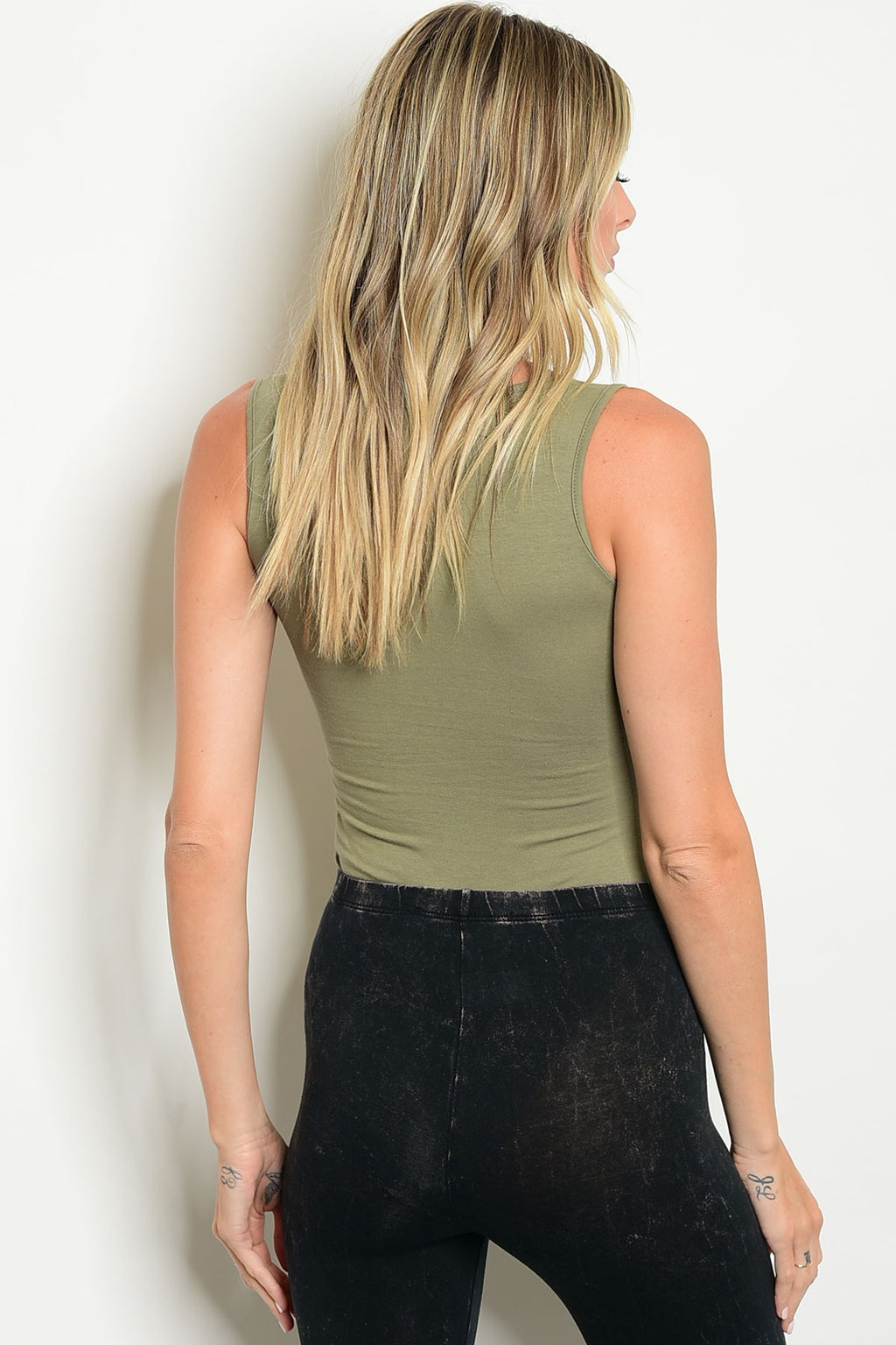 Olive Lace-Up Graphic Bodysuit Top