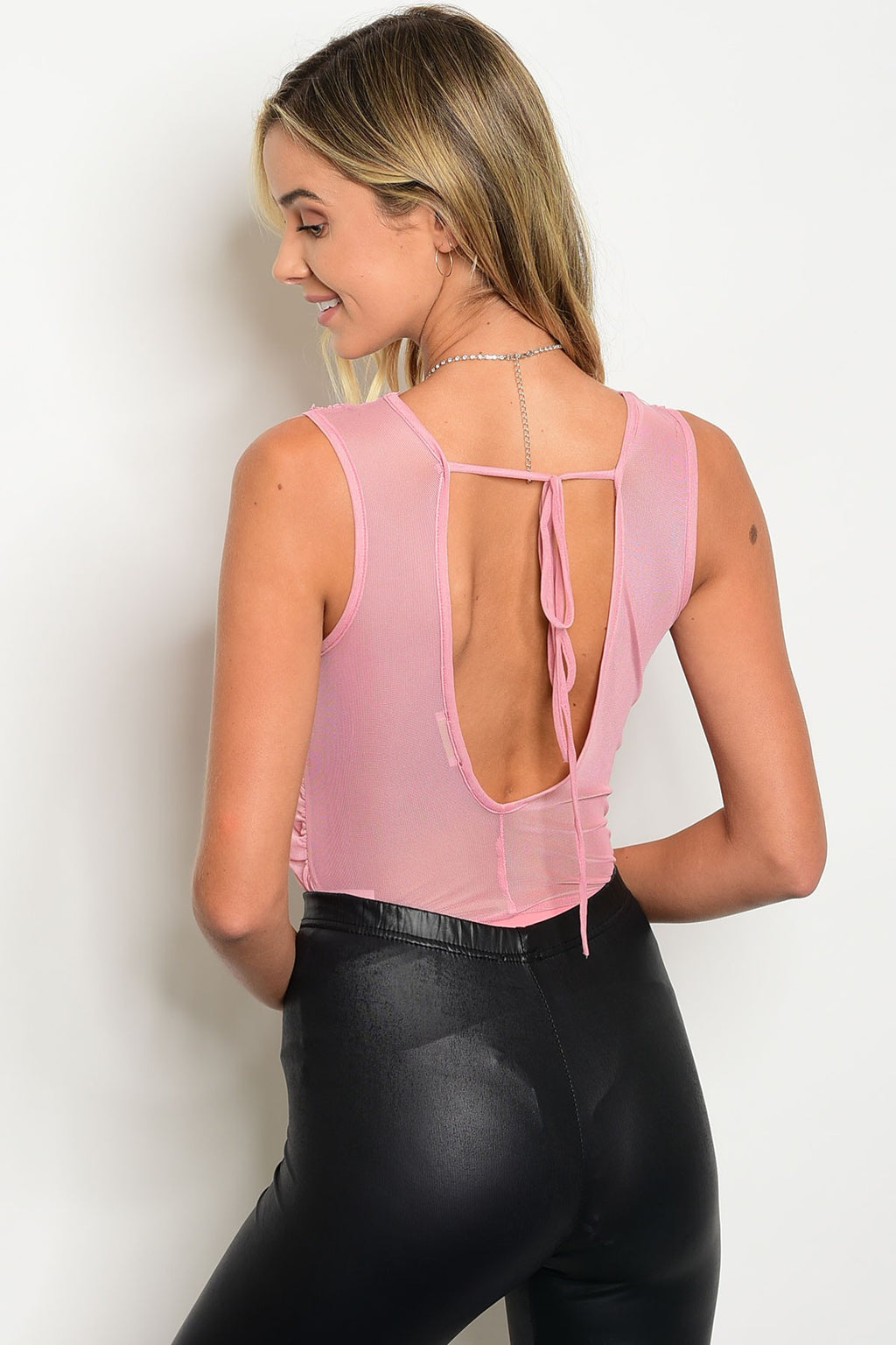 Blush Sleeveless Mesh Bodysuit with crossed fabric. Open back with tie.