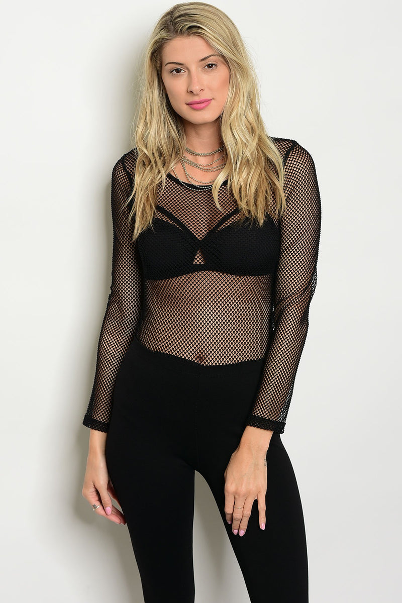 Black long sleeve full mesh bodysuit with a crew neck.