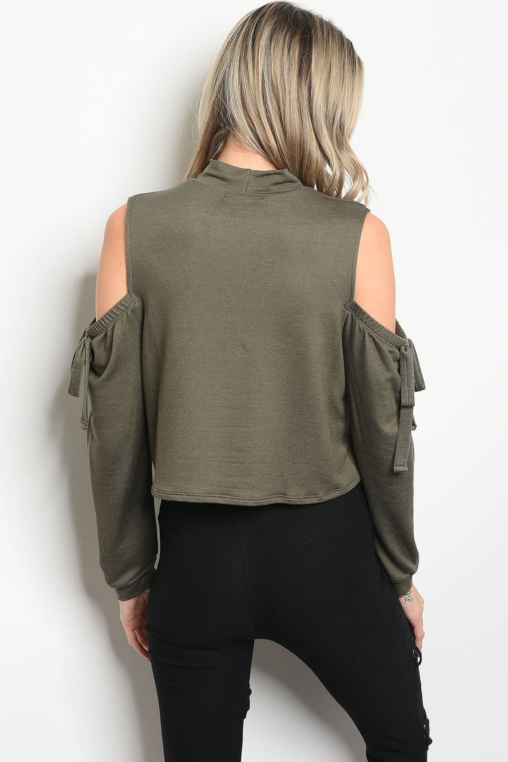 Olive Peek A Boo Shoulder Top