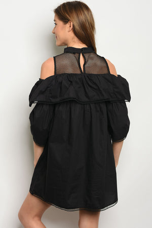 Baby doll black dress. Shoulders out with front and back made with mesh material.