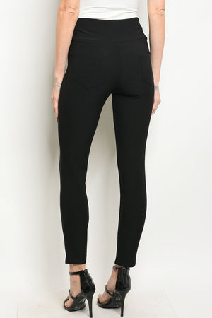 Black Skinny Leg Pants With Elastic Waist. Has gold buttons and detail on the front.
